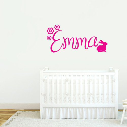 Custom Name With Bunny Wall Decals and Stickers