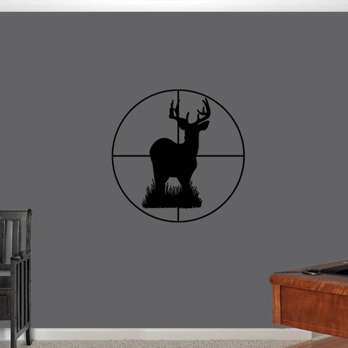 "Deer Through Scope Wall Decals 22"" wide x 22"" tall Sample Image"