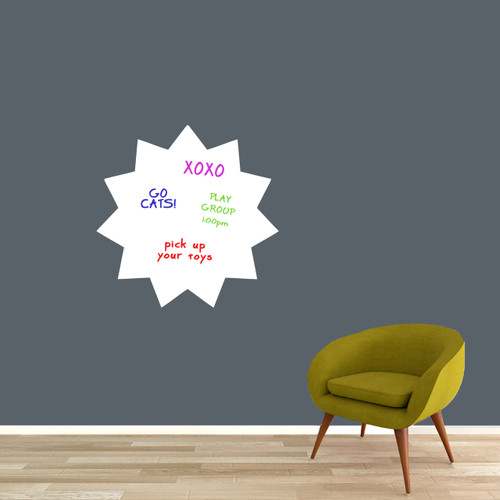 """Dry Erase Starburst Wall Decals 23"""" wide x 23"""" tall Sample Image (writing not included)"""