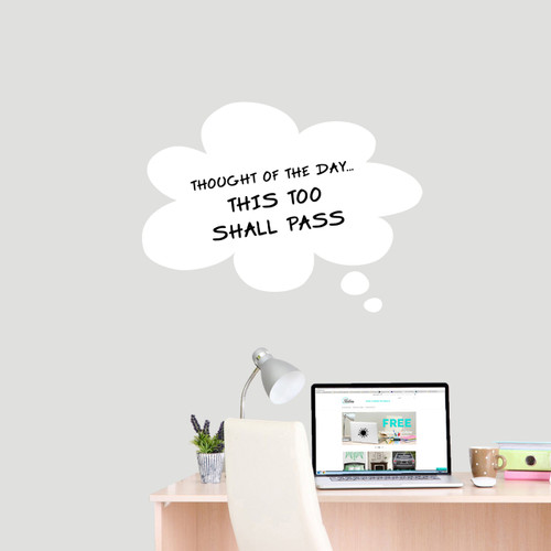 """Dry Erase Thought Bubble Wall Decals 24"""" wide x 18"""" tall Sample Image (writing not included)"""