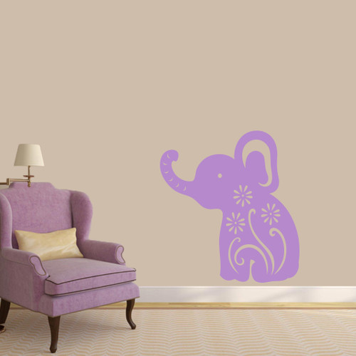 "Floral Elephant Wall Decals 33"" wide x 36"" tall Sample Image"