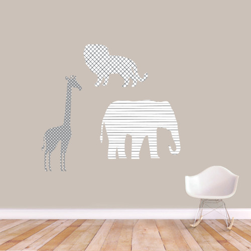 Giraffe Elephant Lion White Gray Printed Pattern Wall Decals Medium Sample Image