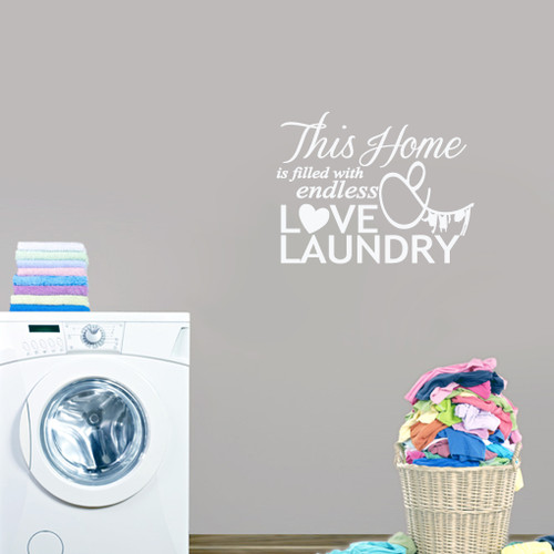 "Endless Love & Laundry Wall Decals 26"" wide x 20"" tall Sample Image"
