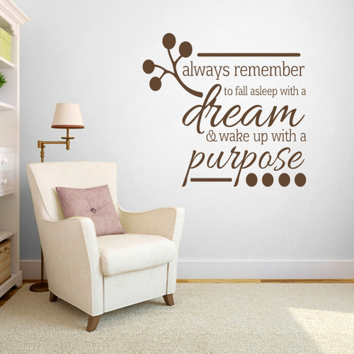 """Wake Up With A Purpose Wall Decals  48"""" wide x 45"""" tall Sample Image"""