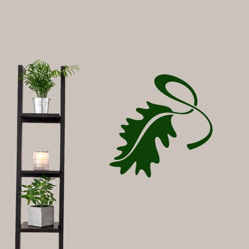 "Leaf Flourish Wall Decal 22"" wide x 22"" tall Sample Image"