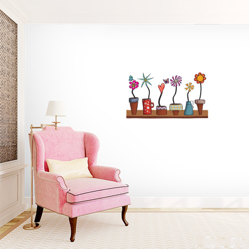 Flower Pots Shelf Printed Wall Decals and Stickers