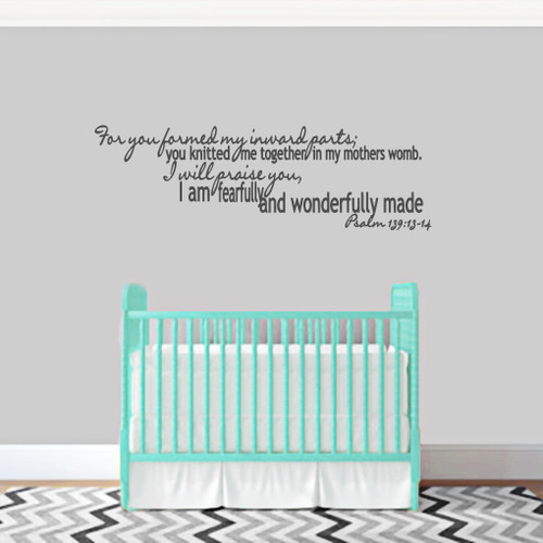 "I Am Fearfully And Wonderfully Made Wall Decals 48"" wide x 15"" tall Sample Image"