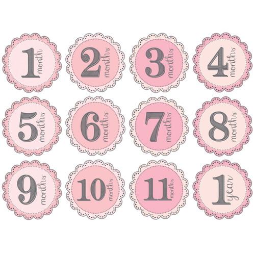 Girl Monthly Baby Milestone Onesie Stickers Wall Stickers