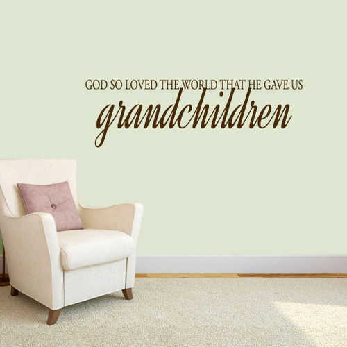 "God Gave Us Grandchildren Wall Decals 48"" wide x 15"" tall Sample Image"