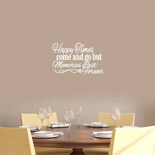 "Happy Times Come And Go But Memories Last Forever Wall Decals Wall Stickers 18"" wide x 11"" tall Sample Image"