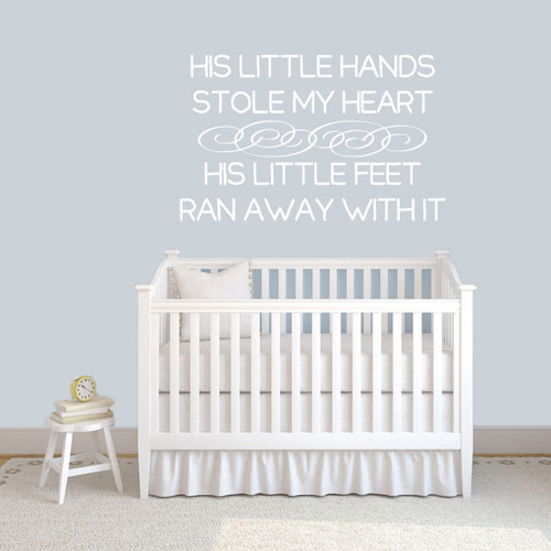 "His Little Hands Stole My Heart Wall Decals 48"" wide x 30"" tall Sample Image"