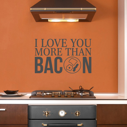 "I Love You More Than Bacon Wall Decals 36"" wide x 22"" tall Sample Image"