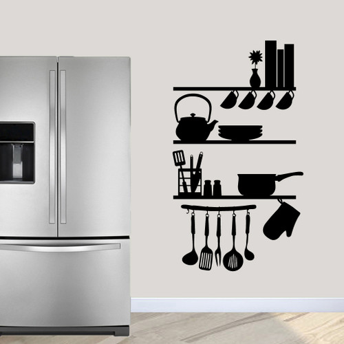 """Kitchen Shelves Utensils Wall Decals 34"""" wide x 60"""" tall Sample Image"""