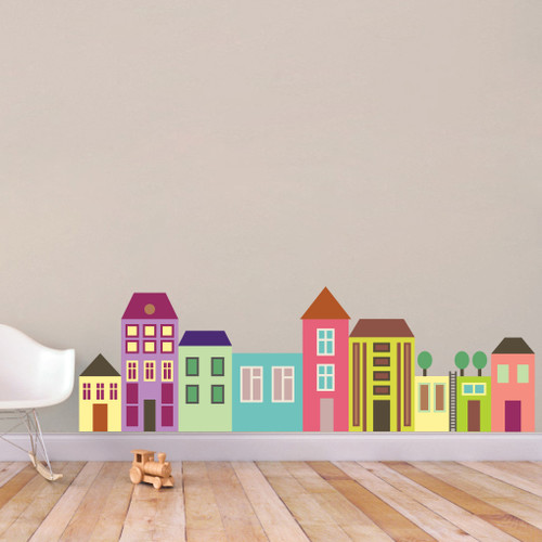 """Little City Color Wall Decals 69"""" wide x 22"""" tall Sample Image"""