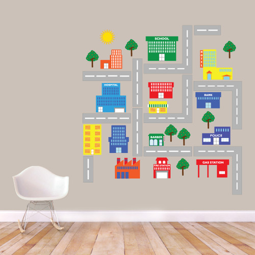 Little Village Printed Wall Decals Large Sample Image