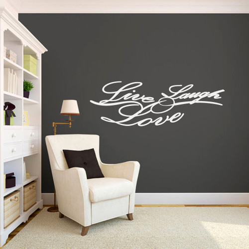 "Live Laugh Love Script Wall Decals 48"" wide x 16"" tall Sample Image"