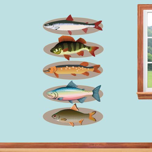 Mounted Fish Set Printed Wall Decals Large Sample Image