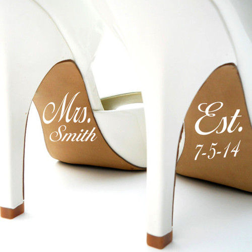 Married Name and Date Wedding Shoe Decals Wall Stickers