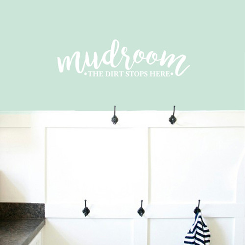 """Mudroom The Dirt Stops Here Wall Decals 36"""" wide x 10"""" tall Sample Image"""