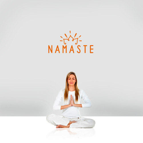 """Namaste Wall Decal 24"""" wide x 12"""" tall Sample Image"""