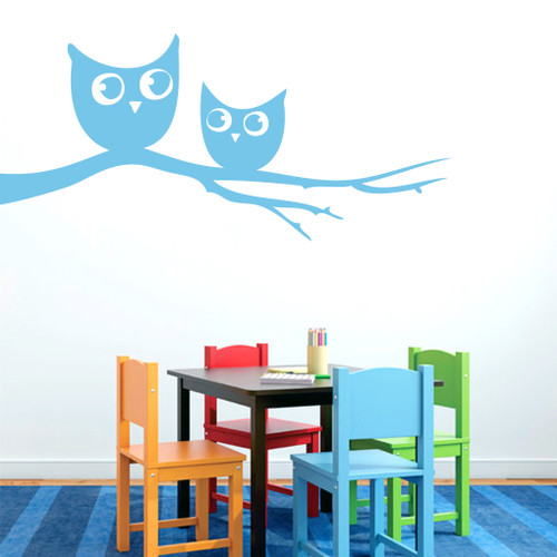 """Owls On Branch Wall Decals 48"""" wide x 22"""" tall Sample Image"""