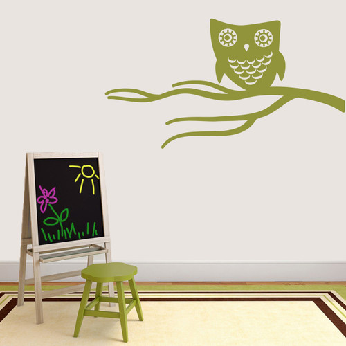 "Cute Owl On Branch Wall Decal 48"" wide x 26"" tall Sample Image"