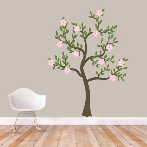 """Pink Flower Tree Printed Wall Decals 54"""" wide x 72"""" tall Sample Image"""