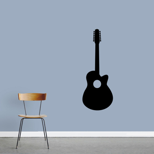 """Classic Guitar Wall Decal 18"""" wide x 48"""" tall Sample Image"""