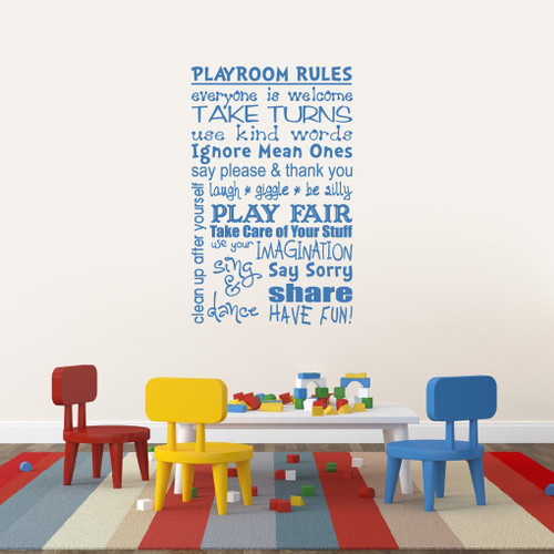 """Playroom Rules Wall Decals 30"""" wide x 48"""" tall Sample Image"""