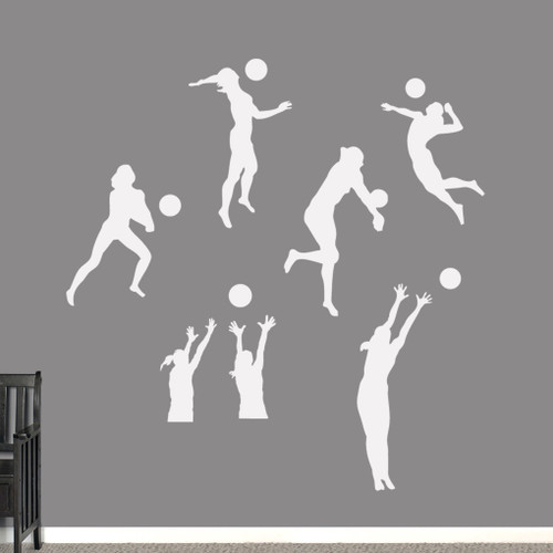 Volleyball Players Wall Decals Large Sample Image