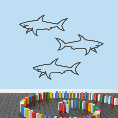 Set Of Sharks Wall Decal Medium Sample Image