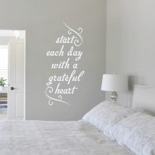 """Start Each Day With A Grateful Heart Wall Decals 17"""" wide x 36"""" tall Sample Image"""