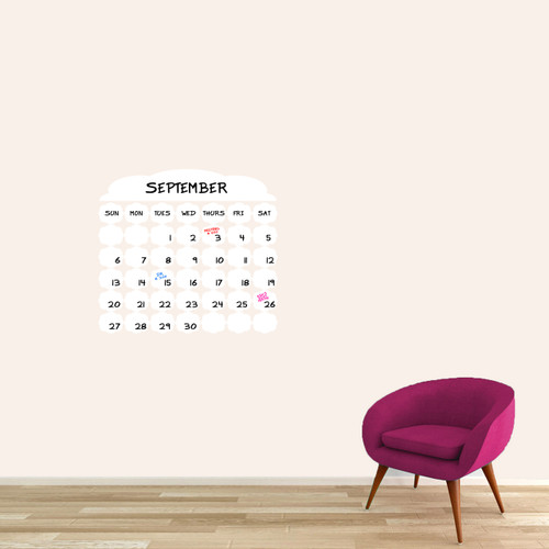 """Dry Erase Fancy Calendar Wall Decals 24"""" wide x 22"""" tall Sample Image (Writing Not Included With Order)"""