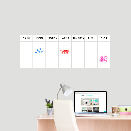 """This Week Dry Erase Calendar Wall Decals 30"""" wide x 11"""" tall Sample Image (Writing Not Included With Order)"""