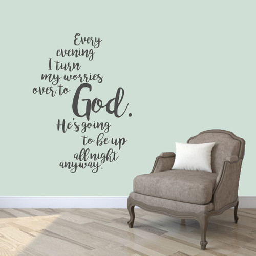 """Turn My Worries Over To God Wall Decal 34"""" wide x 48"""" tall Sample Image"""