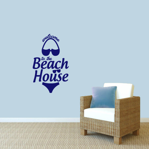 "Welcome To The Beach House Wall Decals 22"" wide x 36"" tall Sample Image"