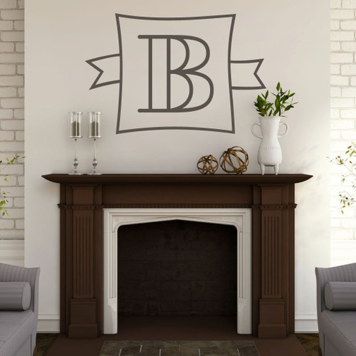 Custom Monogram Frame With Banner Wall Decals and Stickers