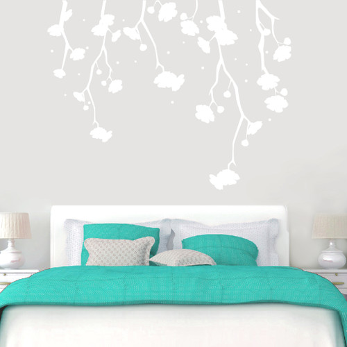 "Hanging Flowers Wall Decals 72"" wide x 56"" tall Sample Image"