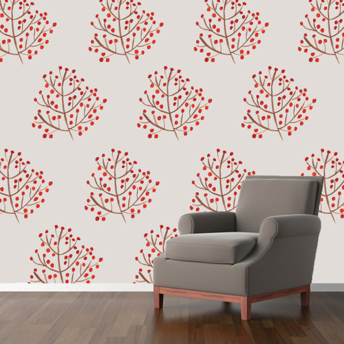 Red Berry Branch Printed Wall Decals and Stickers