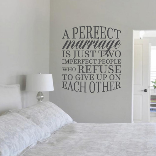 "A Perfect Marriage Wall Decal 31"" wide x 36"" tall Sample Image"