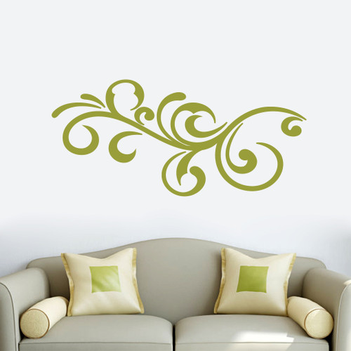 "Decorative Scroll Flourish Wall Decals 48"" wide x 22"" tall Sample Image"