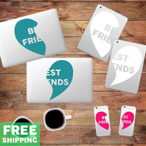 Best Friends Heart Device Decals Water Bottle Stickers