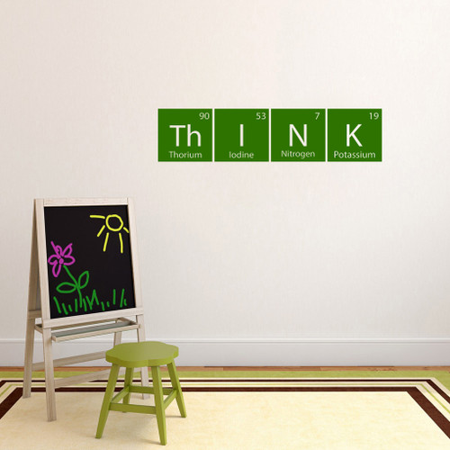 "Think Periodic Table Wall Decal 36"" wide x 8.5"" tall Sample Image"