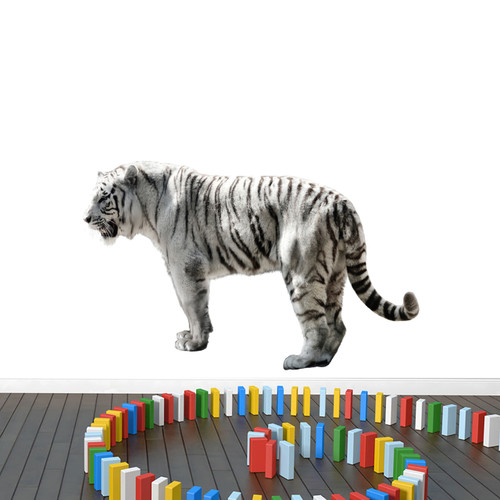 "Real Life White Tiger Printed Wall Decal 48"" wide x 30"" tall Sample Image"