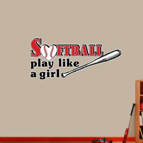 """Softball Play Like A Girl - Printed Wall Decal 48"""" wide x 22"""" tall Sample Image"""