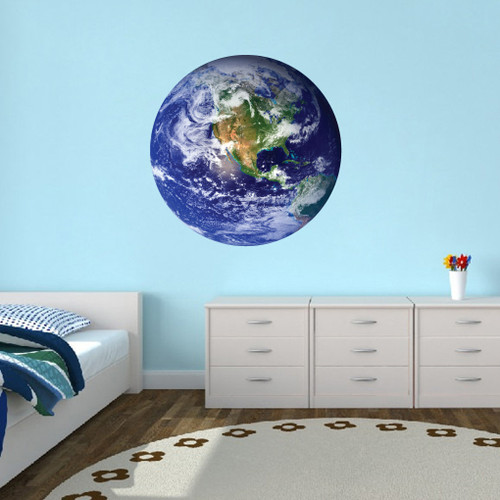 """Earth Printed Wall Decal 36"""" wide x 36"""" tall Sample Image"""