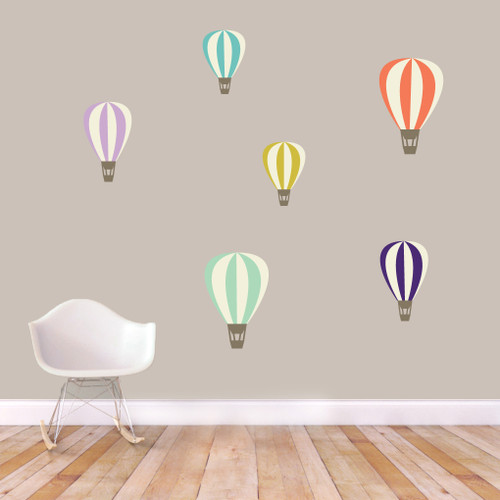 Colorful Hot Air Balloons Printed Wall Decals Large Sample Image