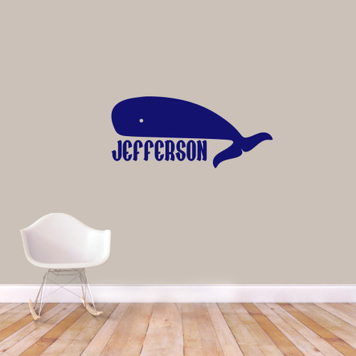 "Custom Whale Name Wall Decal 36"" wide x 16"" tall Sample Image"