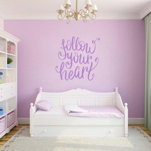 """Follow Your Heart Script Wall Decal 36"""" wide x 36"""" tall Sample Image"""