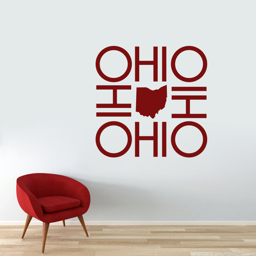 "OHIO OHIO OHIO OHIO Wall Decal 36"" wide x 36"" tall Sample Image"